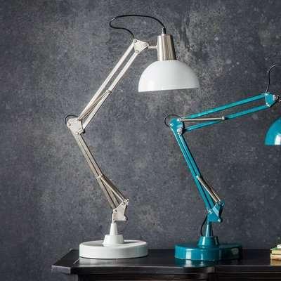 Gallery Direct Watson Table Lamp in Brushed Nickel/ White
