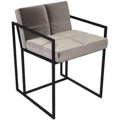 Gillmore Federico Mushroom Grey Velvet With Brass Frame Dining Chair