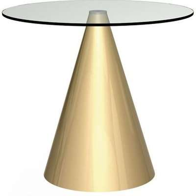 Gillmore Oscar Clear Glass Top And Brass Base Round 4 Seater Dining Table / Small