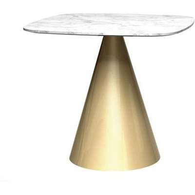 Gillmore Oscar White Marble Top And Brass Base Square Dining Table