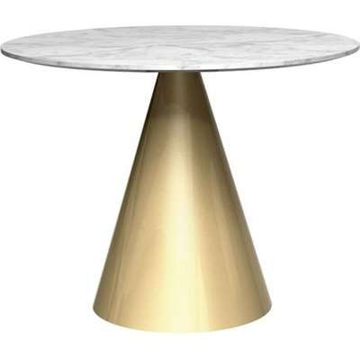 Gillmore Oscar White Marble Top And Brass Base Round Dining Table