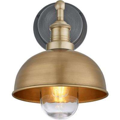 Industville Brooklyn Outdoor & Bathroom Dome Wall Light - 8 Inch - Brass / Brass