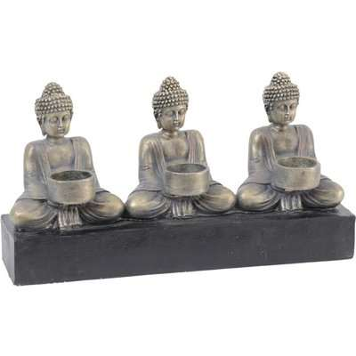 Libra Buddha Resin Three Tealight Holder Antique Gold