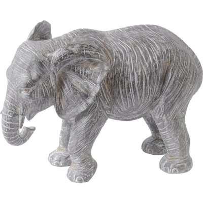 Libra Antique Elephant Resin Sculpture Grey