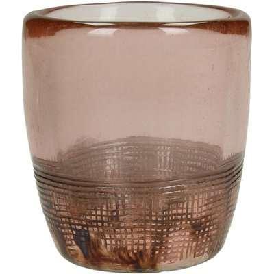 Libra Blush Lustre Textured Glass Tealight Holder