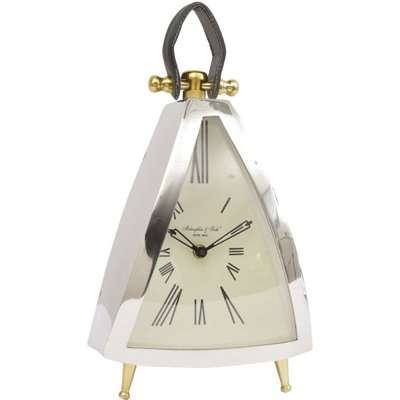 Libra Isosceles Curved Front Mantel Clock With Leather Handle