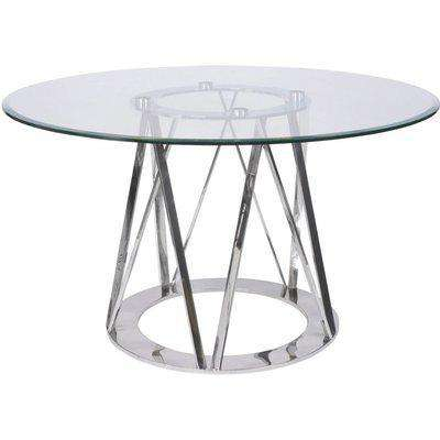 Libra Linton 4 Seater Round Dining Table Stainless Steel & Glass