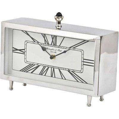 Libra Nebolo Nickel Rectangular Table Clock   Outlet