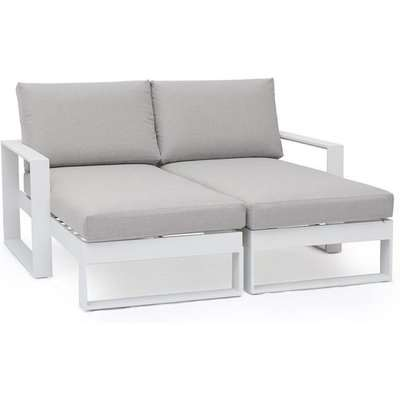 Maze Rattan Amalfi Outdoor Lounger Amalfi With Side Table in White