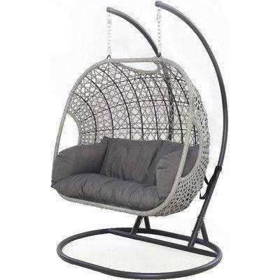 Maze Rattan Ascot Double Outdoor Hanging Chair in Grey