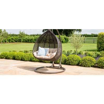 Maze Rattan Rose Outdoor Hanging Chair in Brown