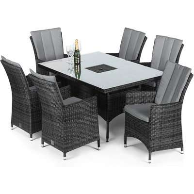 Maze Rattan LA 6 Seater Grey Outdoor Dining Set with Ice Bucket in Grey