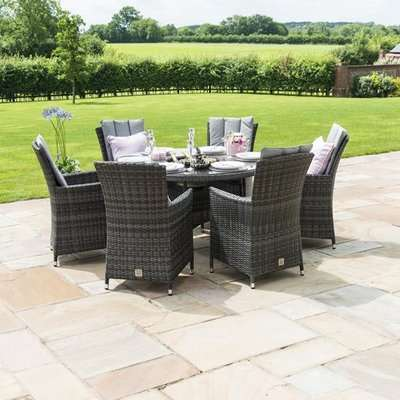 Maze Rattan LA 6 Seater Grey Round Outdoor Dining Set with Ice Bucket and Lazy Susan