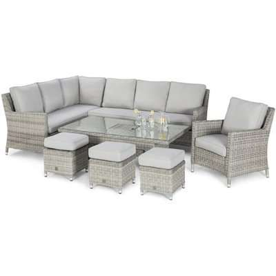 Maze Rattan Oxford Outdoor Corner Dining Set with Rising Table in Light Grey