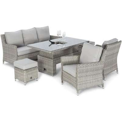 Maze Rattan Oxford Outdoor Sofa Dining Set with Ice Bucket and Rising Table in Light Grey