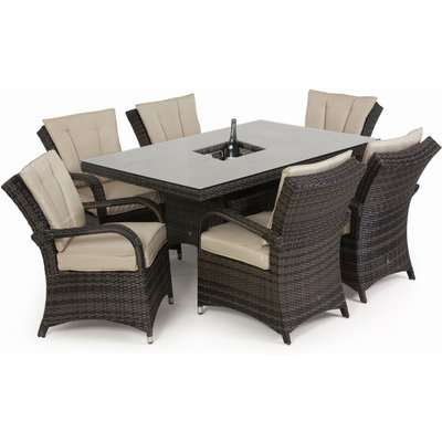 Maze Rattan Texas 6 Seat Rectangle Outdoor Dining Set with Ice Bucket in Brown