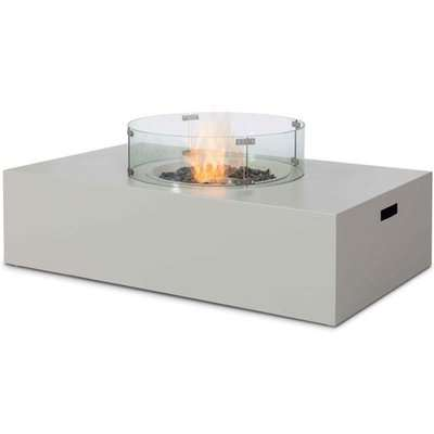 Maze Rattan Wide Fire Pit Coffee Table in Pebble White