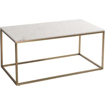 RV Astley Faceby White And Brushed Gold Coffee Table   Outlet
