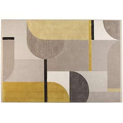Zuiver Hilton Rug in Yellow and Grey / Grey/Yellow / Round