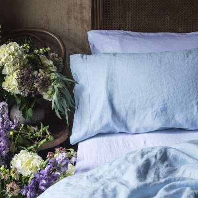Piglet Sage Green Basic Bundle Size Super King (with Super King Pillowcases) | 100% Natural Stonewashed French flax