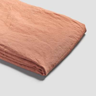 Piglet Burnt Orange Linen Duvet Cover Size Double | 100% Natural Stonewashed French flax
