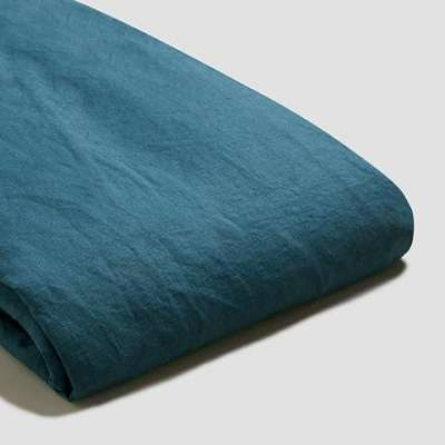 Piglet Deep Teal Linen Duvet Cover Size King | 100% Natural Stonewashed French flax