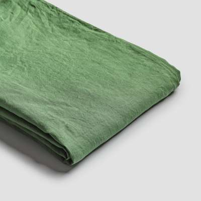 Piglet Forest Green Linen Flat Sheet Size Double | 100% Natural Stonewashed French flax
