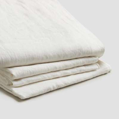 Piglet White Linen Complete Sheet Set Size Super King (with Super King Pillowcases) | 100% Natural Stonewashed French flax