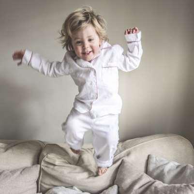 Piglet White Linen Kids Pyjama Set Size 3-4 Years   100% Natural Stonewashed Flax