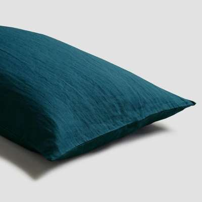 Piglet Deep Teal Linen Pillowcases (Pair) Size Square   100% Natural Stonewashed French flax