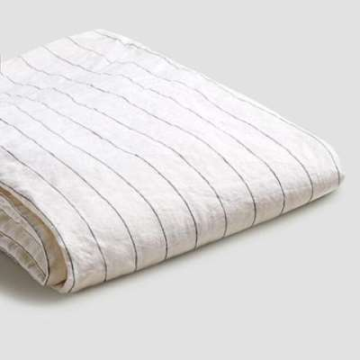 Piglet Luna Stripe Linen Fitted Sheet Size Super King | 100% Natural Stonewashed French flax