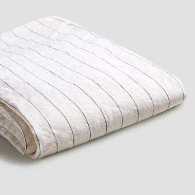 Piglet Luna Stripe Linen Flat Sheet Size Super King | 100% Natural Stonewashed French flax
