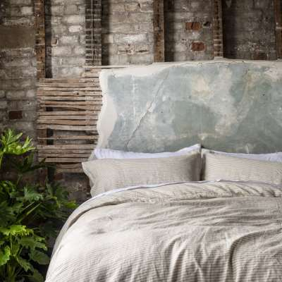 Piglet Oatmeal Stripe Basic Bundle Size Super King (with Super King Pillowcases) | 100% Natural Stonewashed French flax
