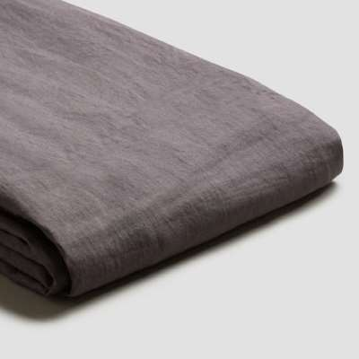 Piglet Charcoal Grey Linen Duvet Cover Set Size Single | 100% Natural Stonewashed French flax