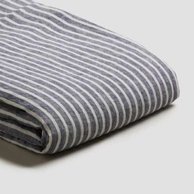 Piglet Midnight Stripe Linen Duvet Cover Set Size Single | 100% Natural Stonewashed French flax