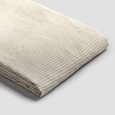 Piglet Oatmeal Stripe Linen Duvet Cover Size Double | 100% Natural Stonewashed French flax