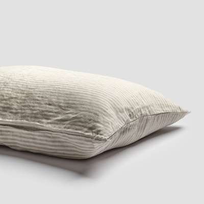 Piglet Oatmeal Stripe Linen Pillowcases (Pair) Size Standard   100% Natural Stonewashed French flax