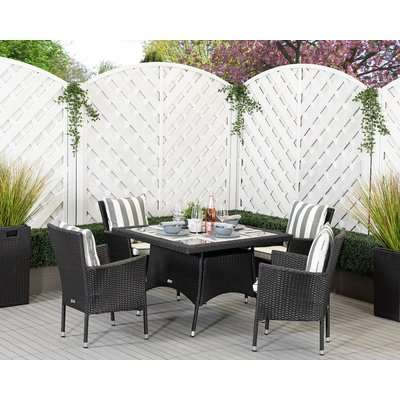 2 Seat Rattan Garden Dining Set With Small Round Dining Table in Grey - Riviera - Rattan Direct