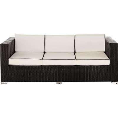 3 Seat Rattan Garden Sofa in Black & White - Ascot - Rattan Direct