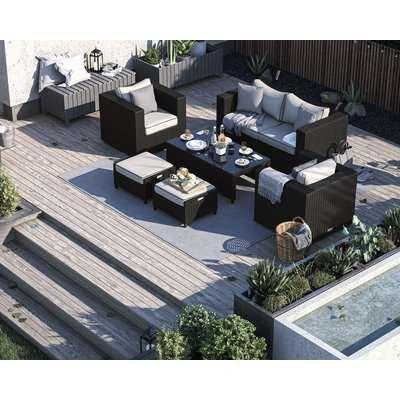 2 Seater Rattan Garden Sofa & Armchair Set in Black & White - Ascot - Rattan Direct