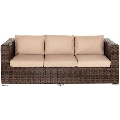 3 Seat Rattan Garden Sofa in Truffle Brown & Champagne - Ascot - Rattan Direct