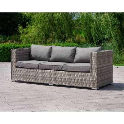 3 Seater Rattan Garden Sofa in Grey - Ascot - Rattan Direct