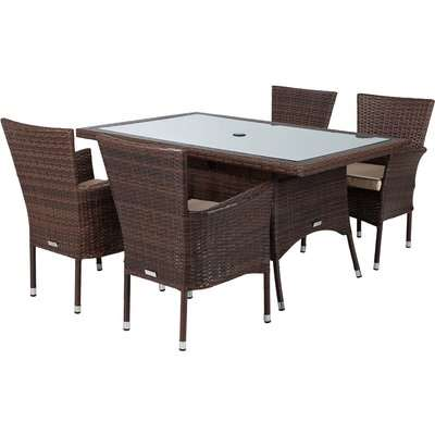 4 Rattan Garden Chairs & Small Rectangular Dining Table Set in Brown - Cambridge - Rattan Direct