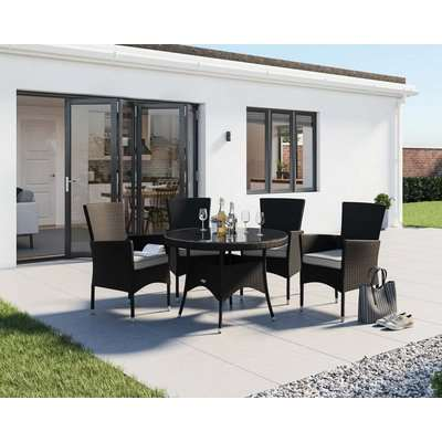 4 Rattan Garden Chairs & Small Round Dining Table in Grey - Riviera - Rattan Direct