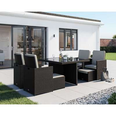 4 Seat Rattan Garden Cube Dining Set in Black & White with 4 Footstools - Barcelona - Rattan Direct