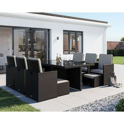 6 Seat Rattan Garden Cube Dining Set in Black with Footstools - Barcelona - Rattan Direct