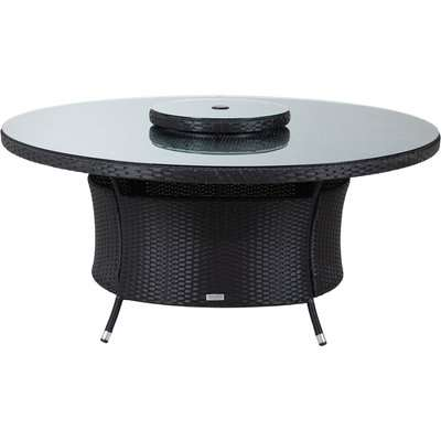 Large Round Rattan Garden Dining Table & 6 Chairs Set in Grey - Riviera - Rattan Direct