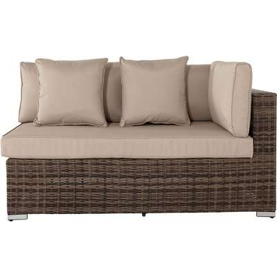 Left As You Sit Rattan Garden Sofa in Brown & Champagne - Premium Weave - Monaco - Rattan Direct