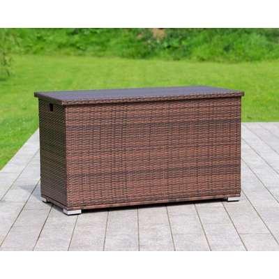 Outdoor Rattan Garden Storage Box in Brown - Rattan Direct