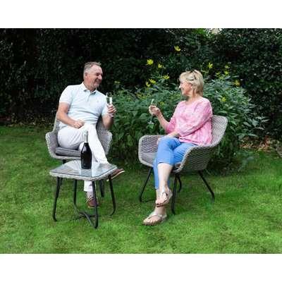 Rattan Garden 2 Seater Bistro Set in Grey - Vasto - Rattan Direct